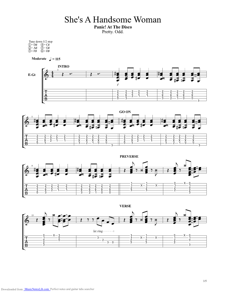 Shes A Handsome Woman guitar pro tab by Panic at the Disco ...