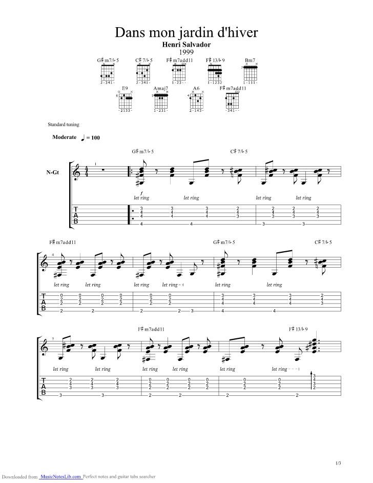 Jardin D Hiver Partition Guitare