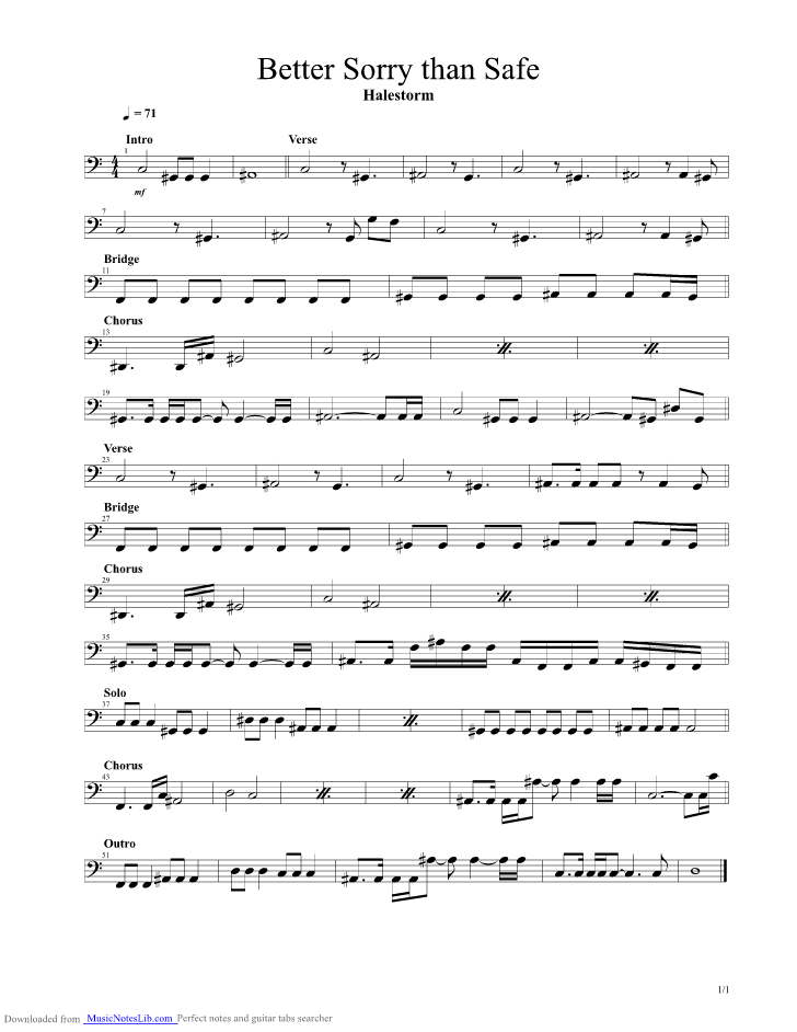 Better Sorry Than Safe guitar pro tab by Halestorm @ musicnoteslib.com