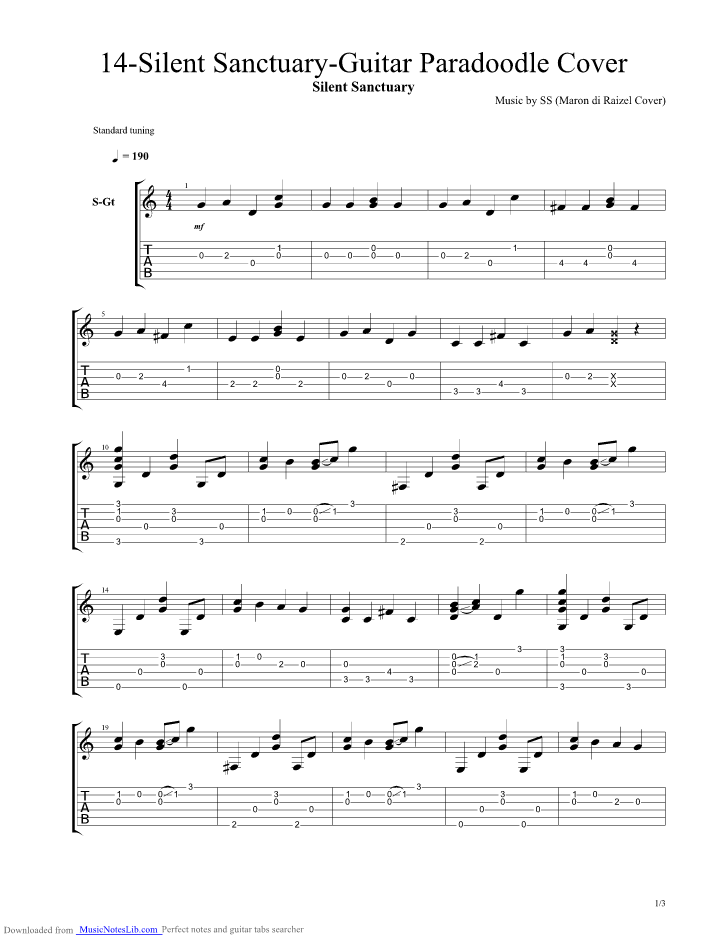 14 Guitar Pro Tab By Silent Sanctuary Musicnoteslib