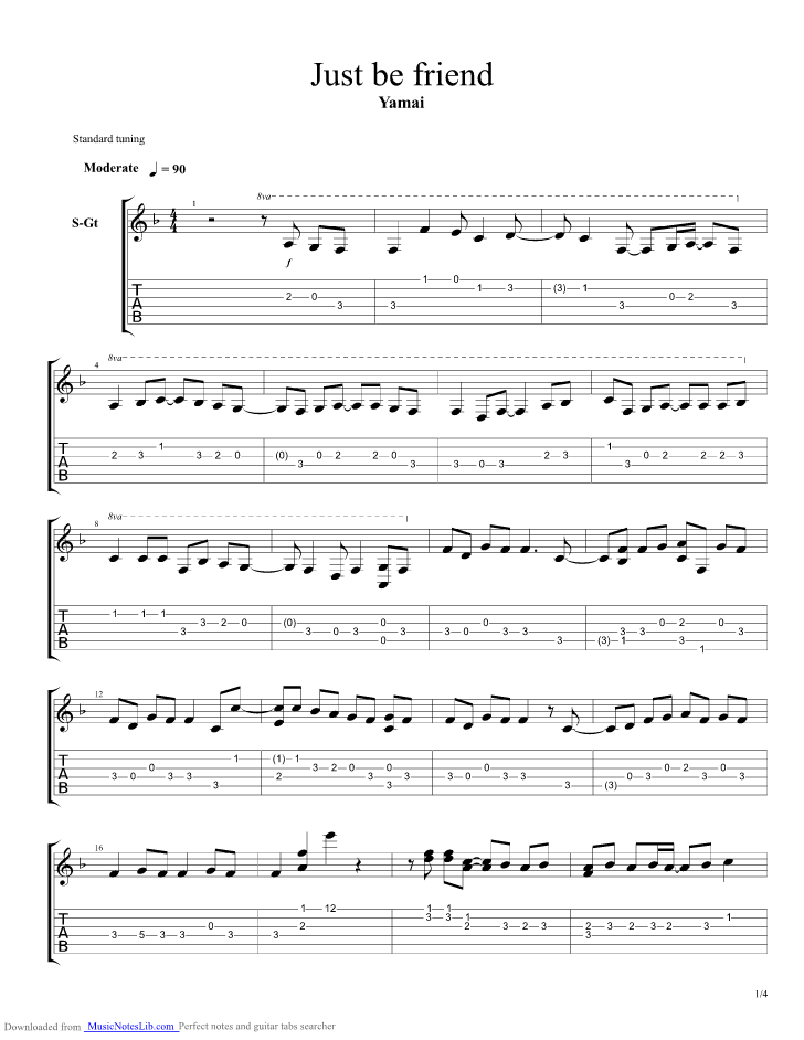 Just Be Friends guitar pro tab by Vocaloid @ musicnoteslib.com
