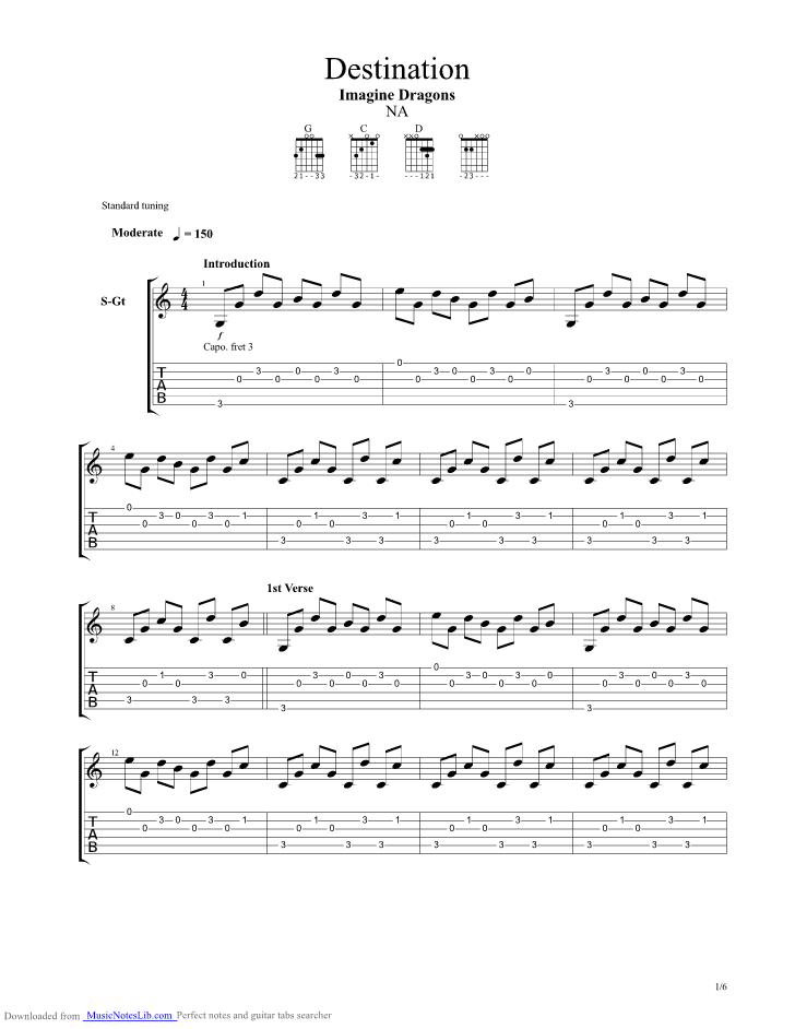 Destination Guitar Pro Tab By Imagine Dragons Musicnoteslib