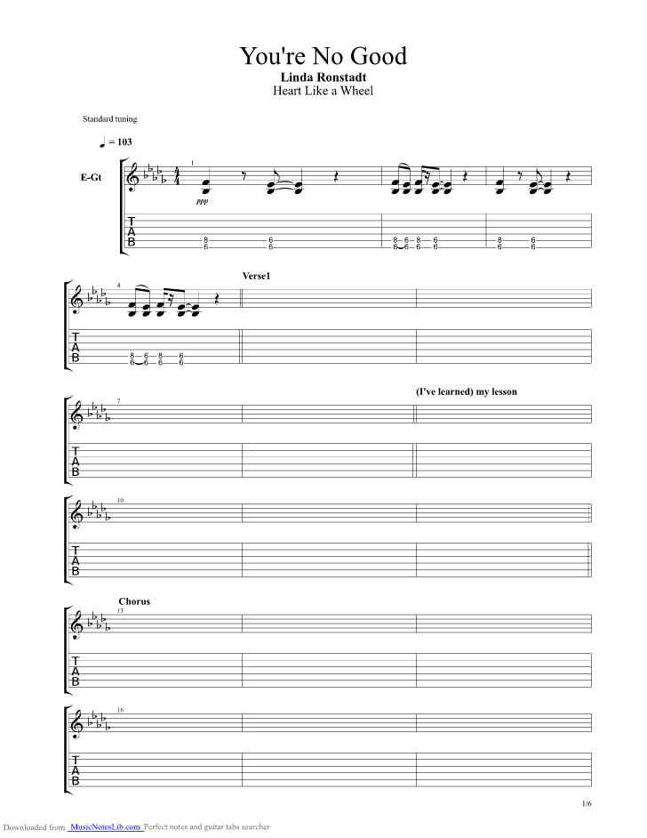 Youre No Good Guitar Pro Tab By Linda Ronstadt Musicnoteslib