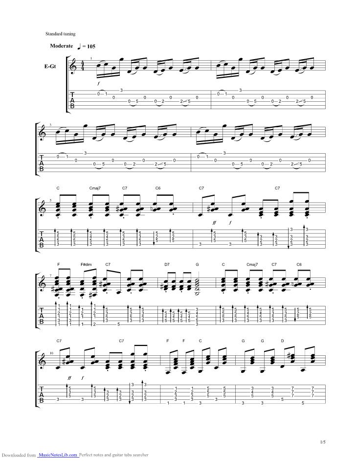 Jingle Bells guitar pro tab by Brad Paisley @ musicnoteslib.com