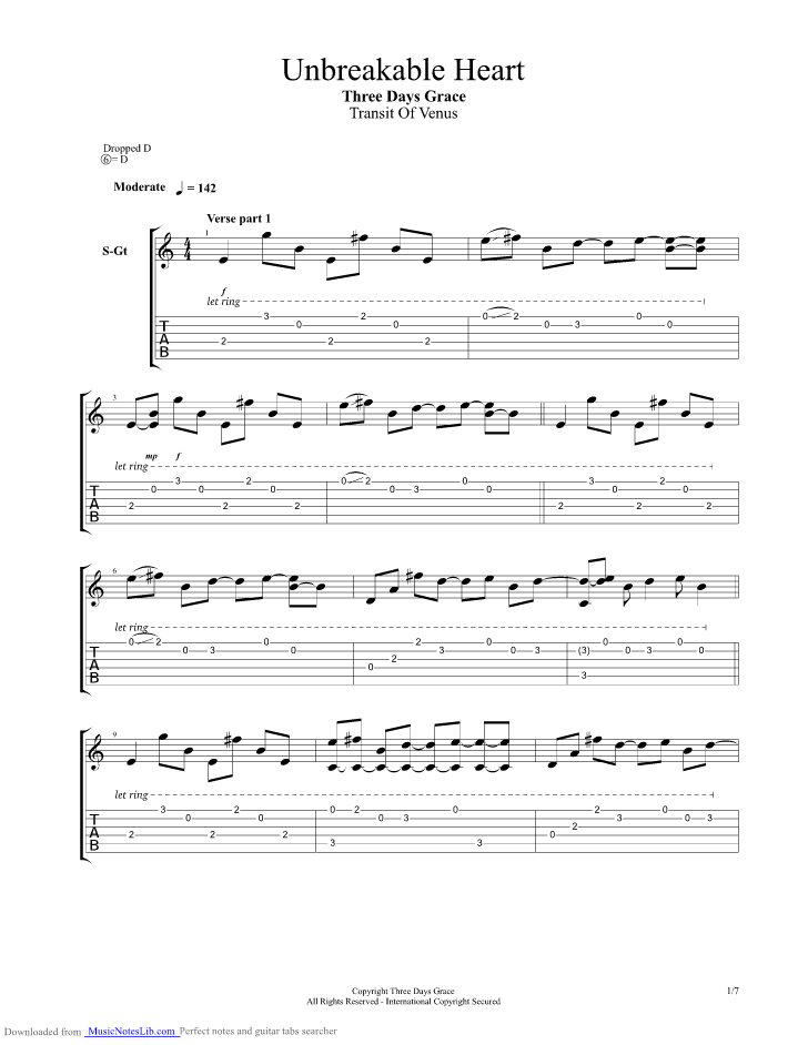 Unbreakable Heart guitar pro tab by Three Days Grace @ musicnoteslib.com