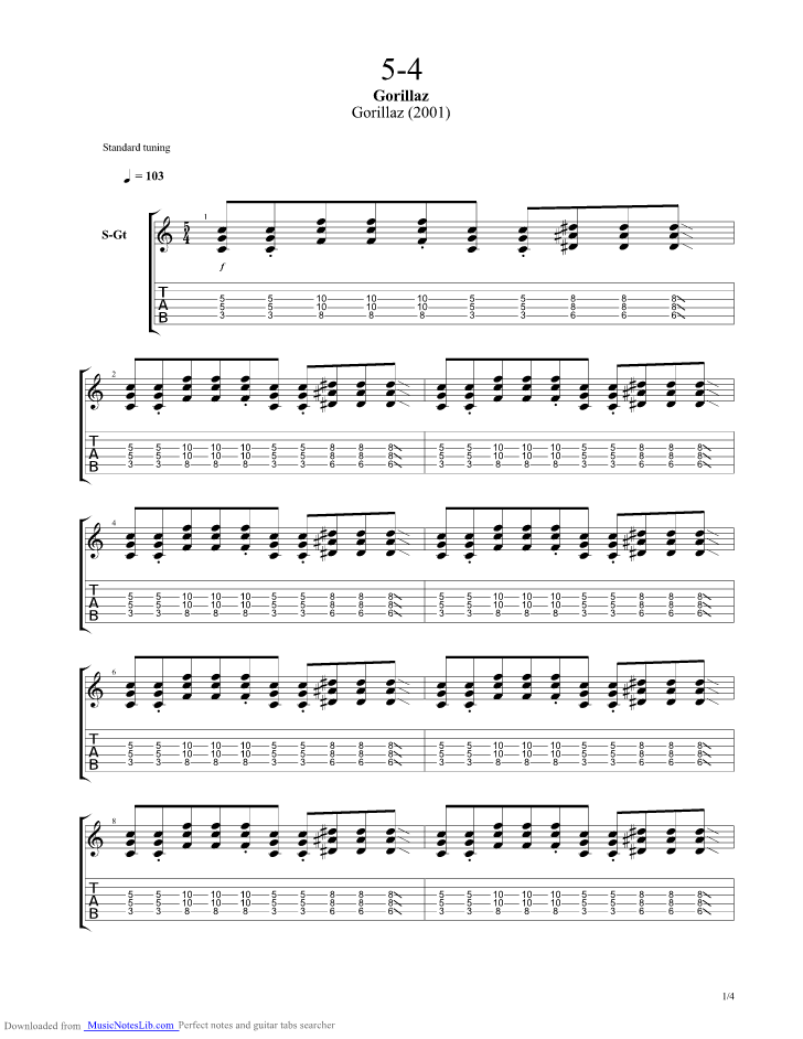 5 4 guitar pro tab by Gorillaz @ musicnoteslib.com