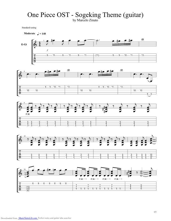 Sogeking guitar pro tab by One Piece @ musicnoteslib com
