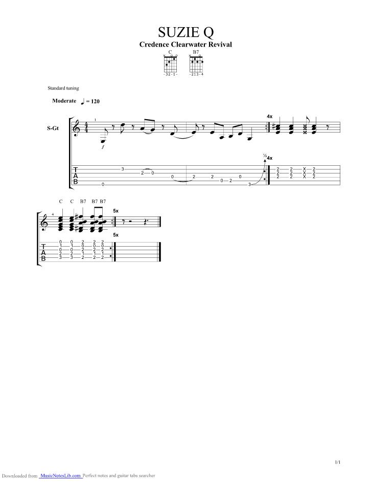 Suzie Q guitar pro tab by John Fogerty @ musicnoteslib.com