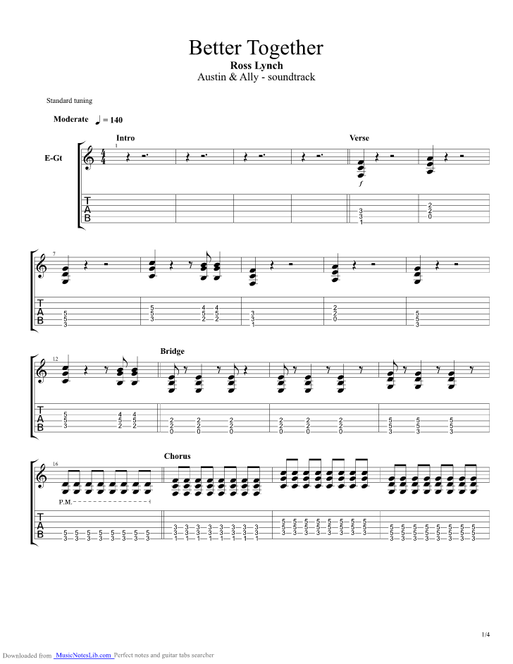 Better Together Guitar Pro Tab By Ross Lynch Musicnoteslib