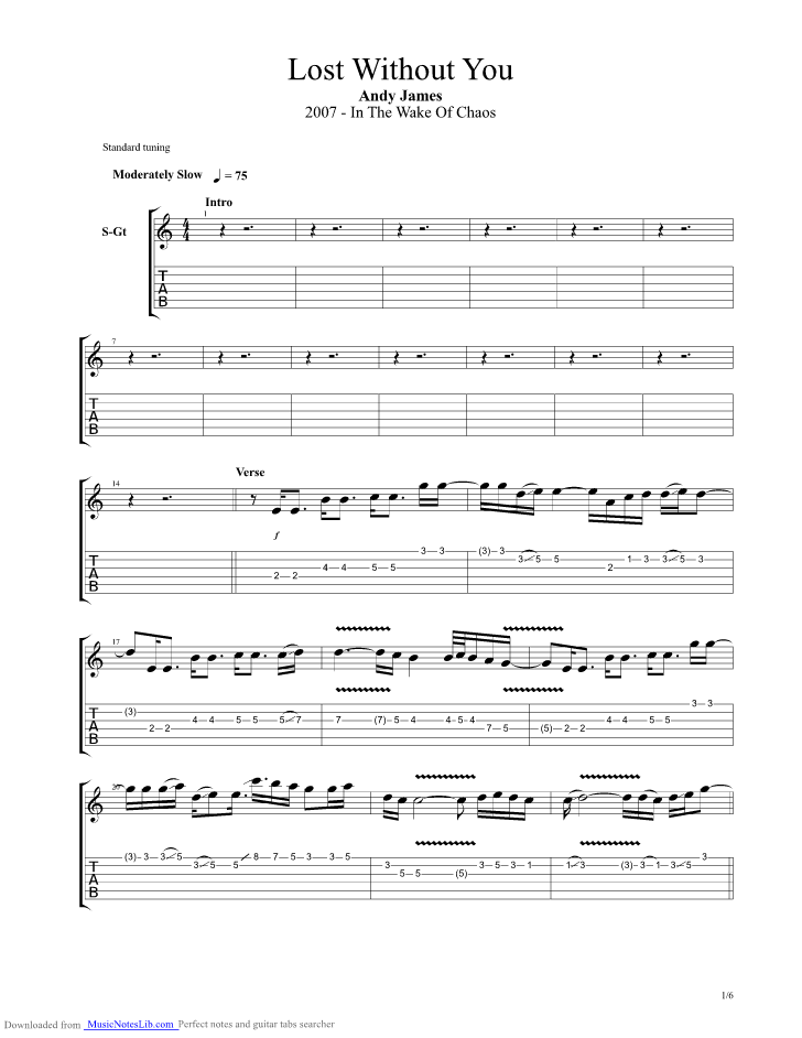 Lost Without You Guitar Pro Tab By Andy James Musicnoteslib