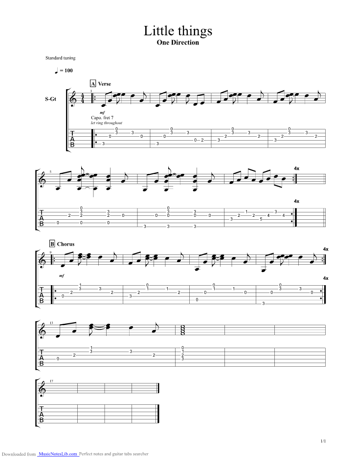 Little Things guitar pro tab by One Direction @ musicnoteslib.com