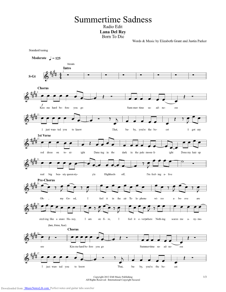 Summertime Sadness Guitar Pro Tab By Lana Del Rey Musicnoteslib
