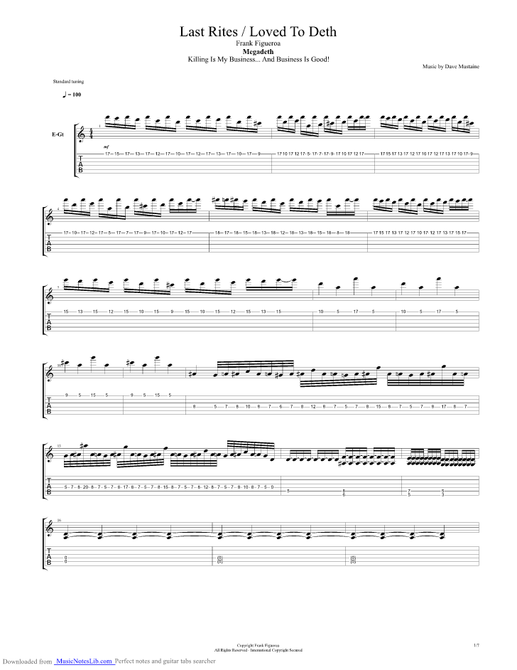 Last Rites Loved To Death Guitar Pro Tab By Megadeth