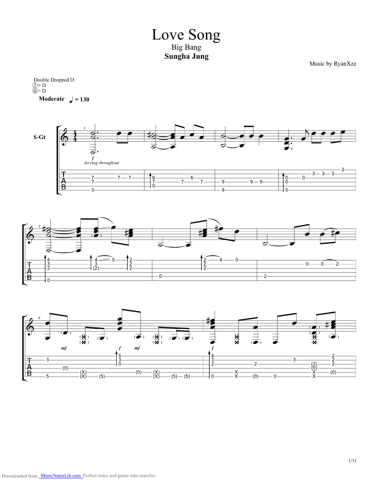 Love Song Guitar Pro Tab By Sungha Jung Musicnoteslib
