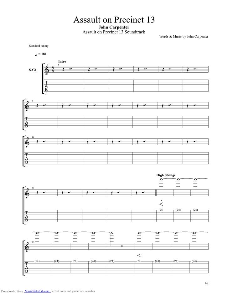 Assault On Precinct 13 - Theme guitar pro tab by Misc ...