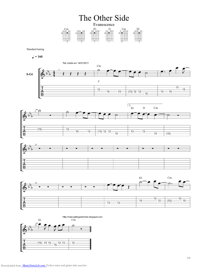 The Other Side Guitar Pro Tab By Evanescence Musicnoteslib