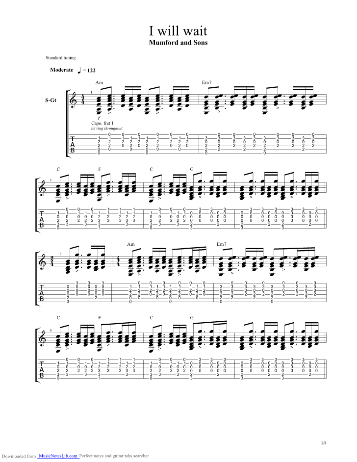 I Will Wait guitar pro tab by Mumford And Sons @ musicnoteslib.com