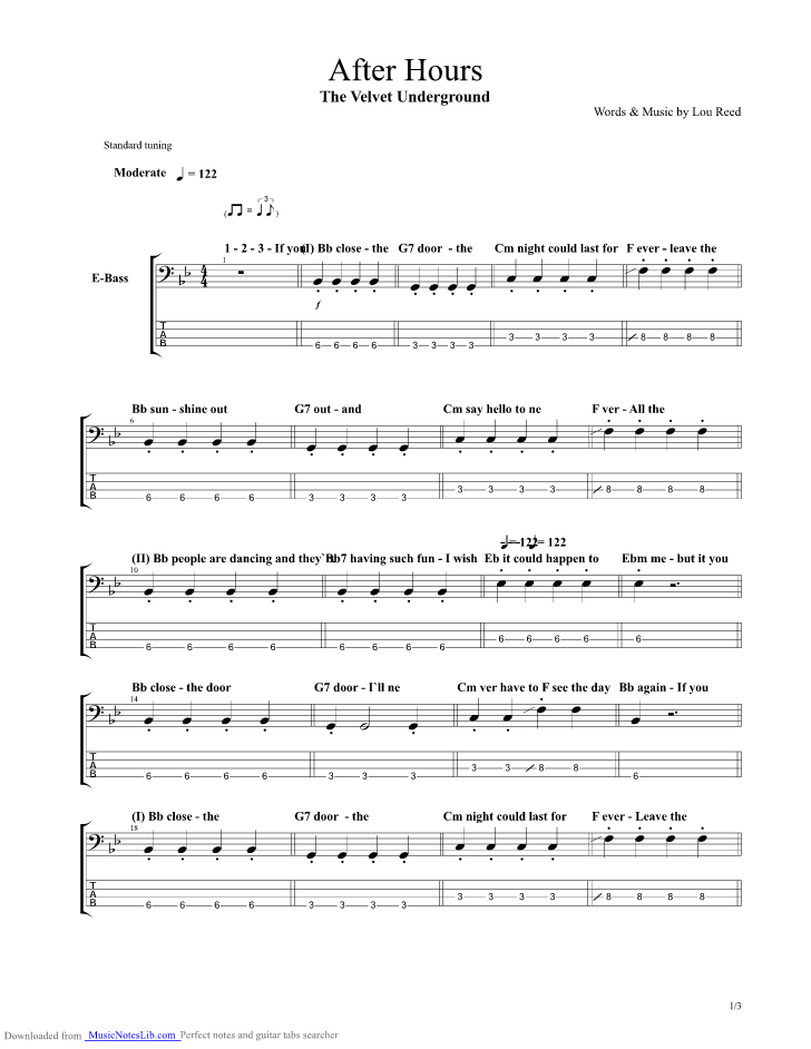 After Hours Guitar Pro Tab By Velvet Underground Musicnoteslib
