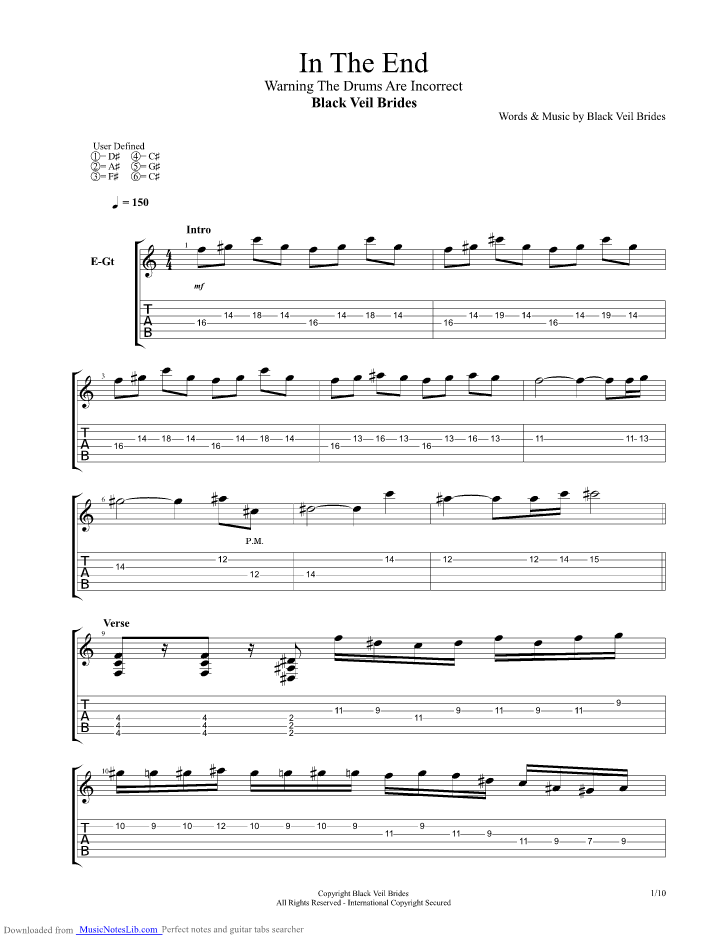 In The End Guitar Pro Tab By Black Veil Brides Musicnoteslib