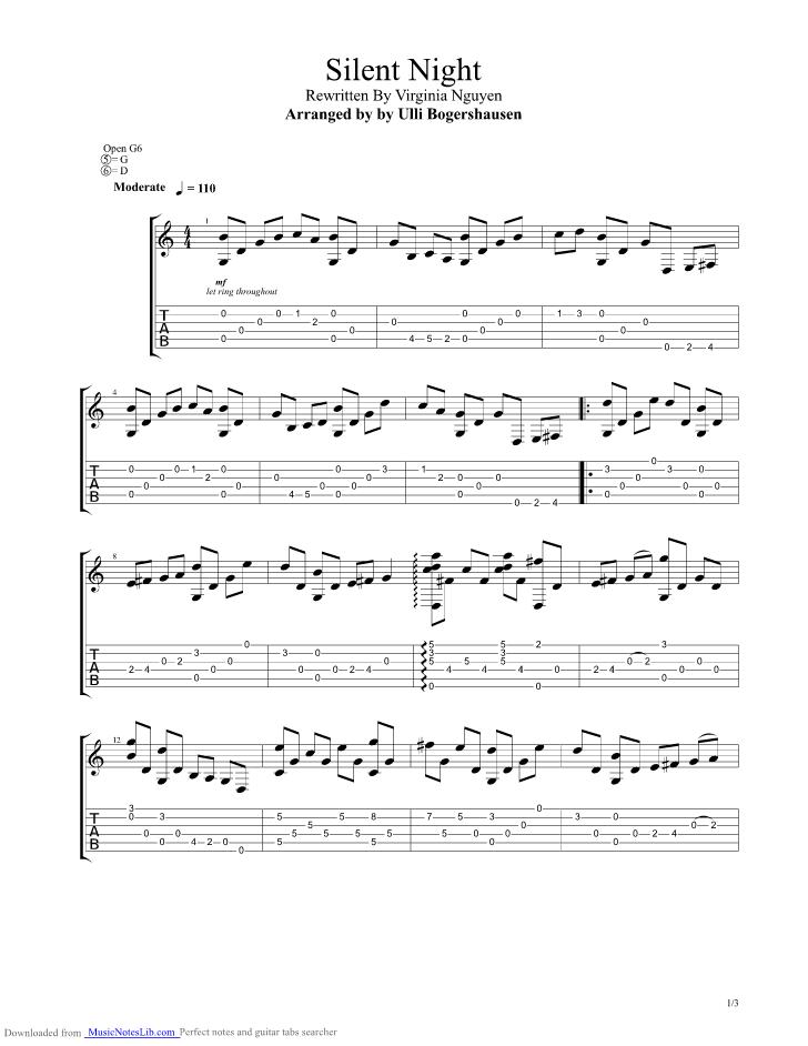 Silent Night Banjo Silent Night Guitar Tab