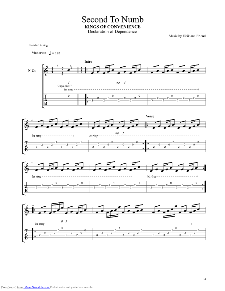 Second To Numb guitar pro tab by Kings Of Convenience ...