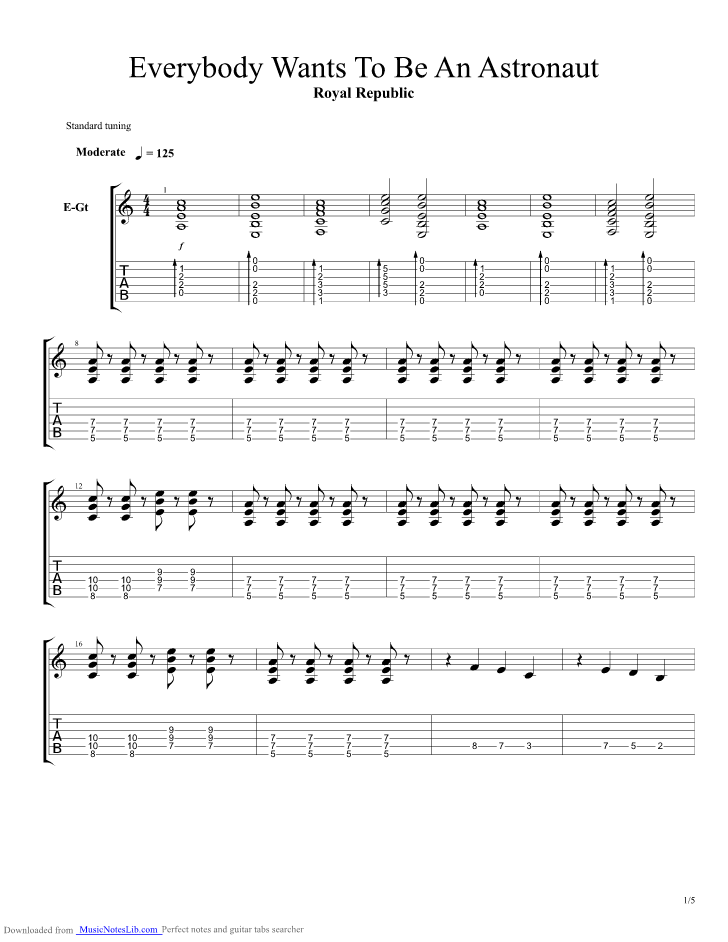 Everybody Wants To Be An Astronaut Guitar Pro Tab By Royal Republic
