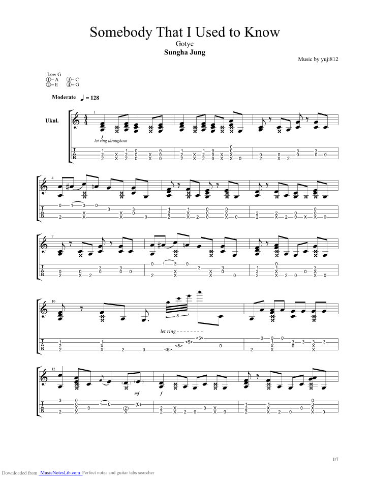 Somebody That I Used To Know guitar pro tab by Sungha Jung @ musicnoteslib.com