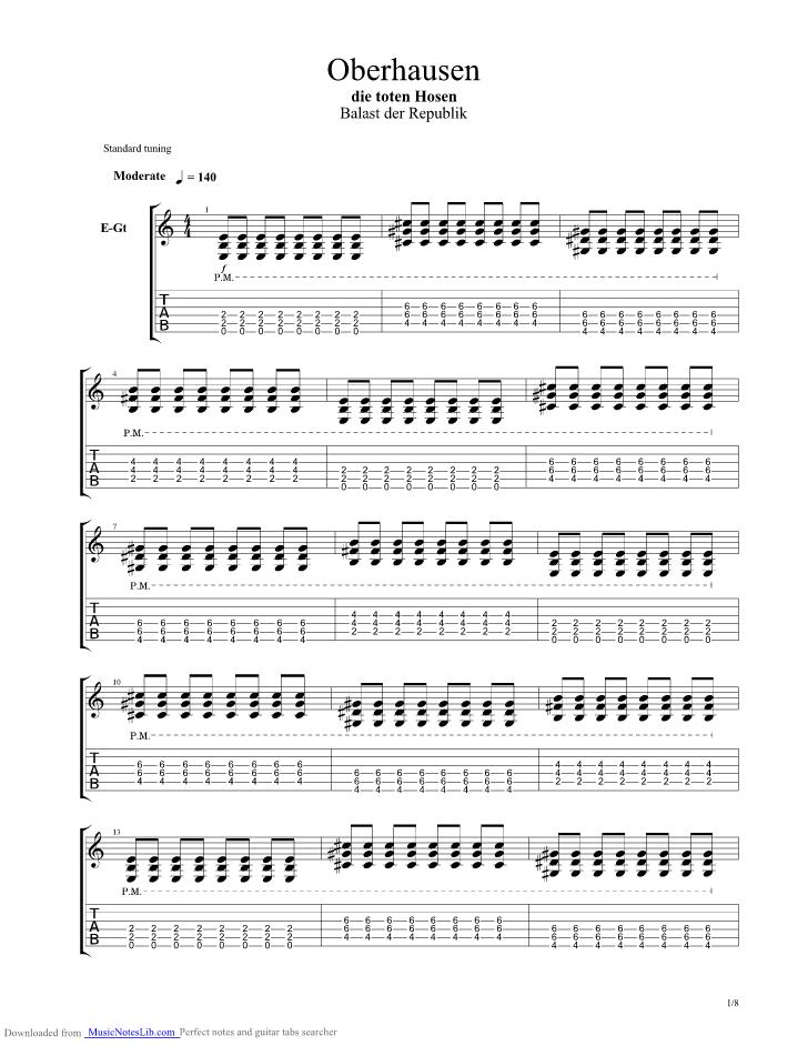 Oberhausen Guitar Pro Tab By Die Toten Hosen At Musicnoteslibcom