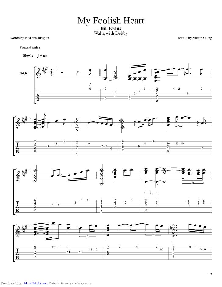 My Foolish Heart Guitar Pro Tab By Bill Evans