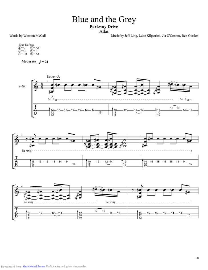 Blue And The Grey Guitar Pro Tab By Parkway Drive Musicnoteslib