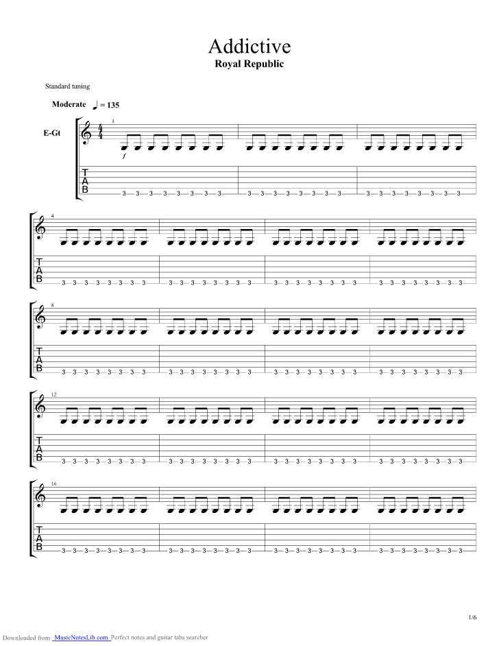 Addictive Guitar Pro Tab By Royal Republic Musicnoteslib