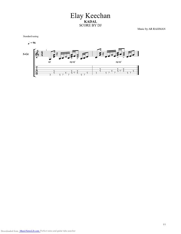 Elay Keechan Guitar Pro Tab By Ar Rahman Musicnoteslib