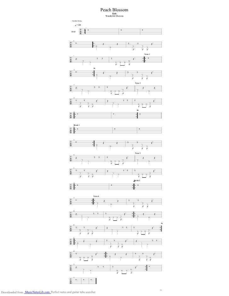 Peach Blossom Guitar Pro Tab By Eels Musicnoteslib