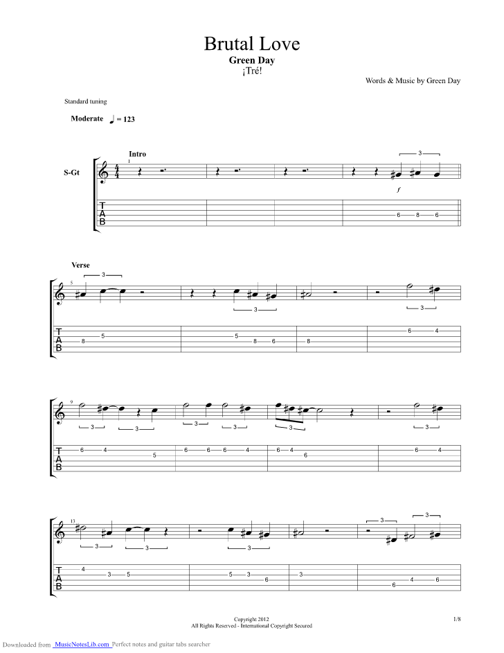 Brutal Love Guitar Pro Tab By Green Day Musicnoteslib