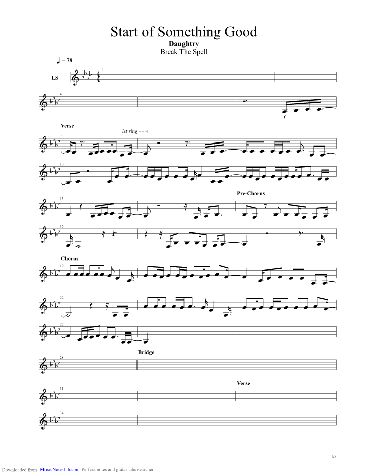 Start Of Something Good Guitar Pro Tab By Chris Daughtry
