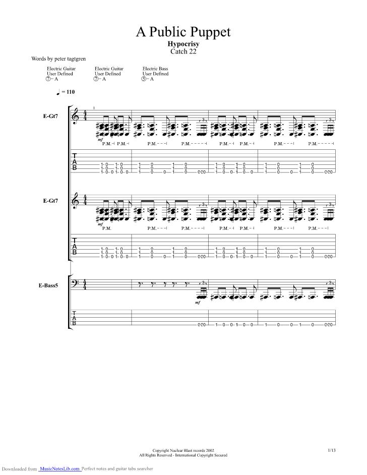 A Public Puppet Guitar Pro Tab By Hypocrisy Musicnoteslib