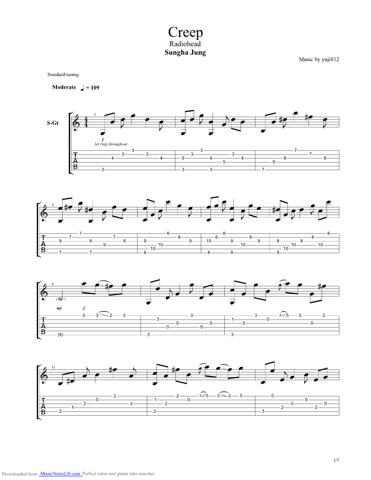 Creep Guitar Pro Tab By Sungha Jung Musicnoteslib