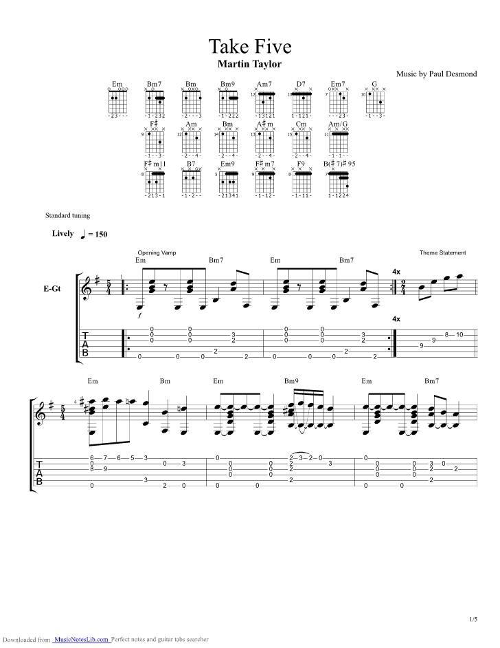 Take 5 Guitar Tabs : take five guitar pro tab by martin taylor ~ Vivirlamusica.com Haus und Dekorationen
