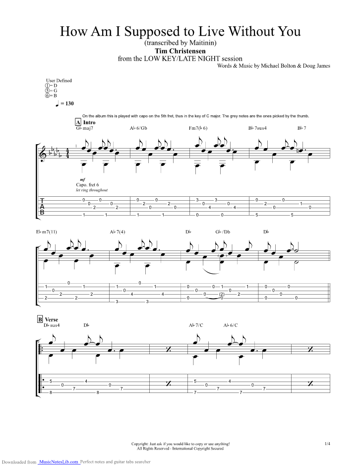 How Am I Supposed To Live Without You Guitar Pro Tab By Tim