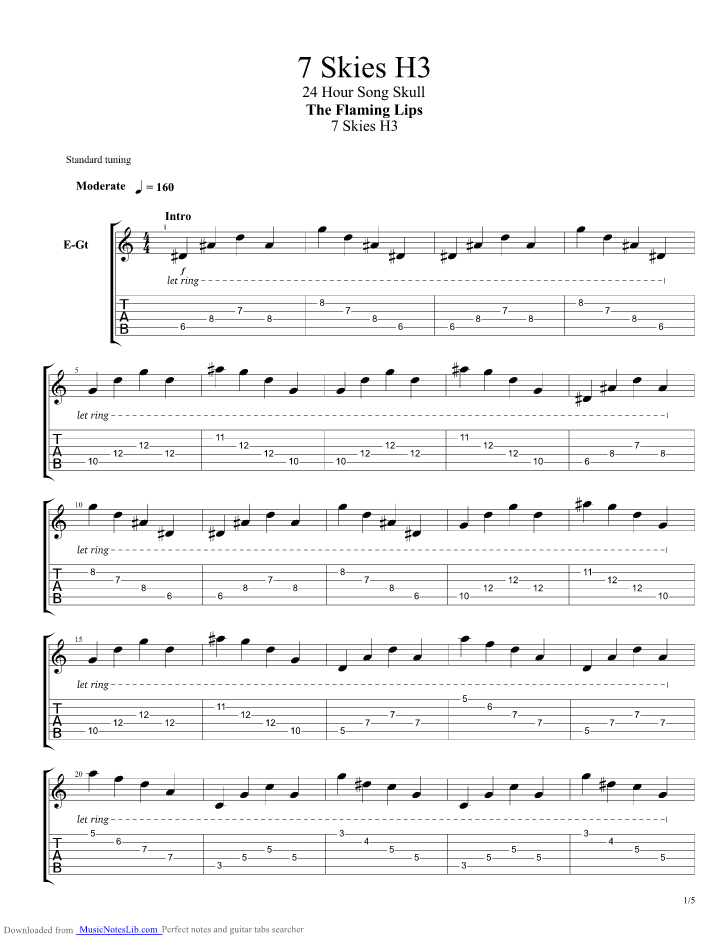 7 Skies H3 Guitar Pro Tab By Flaming Lips Musicnoteslib