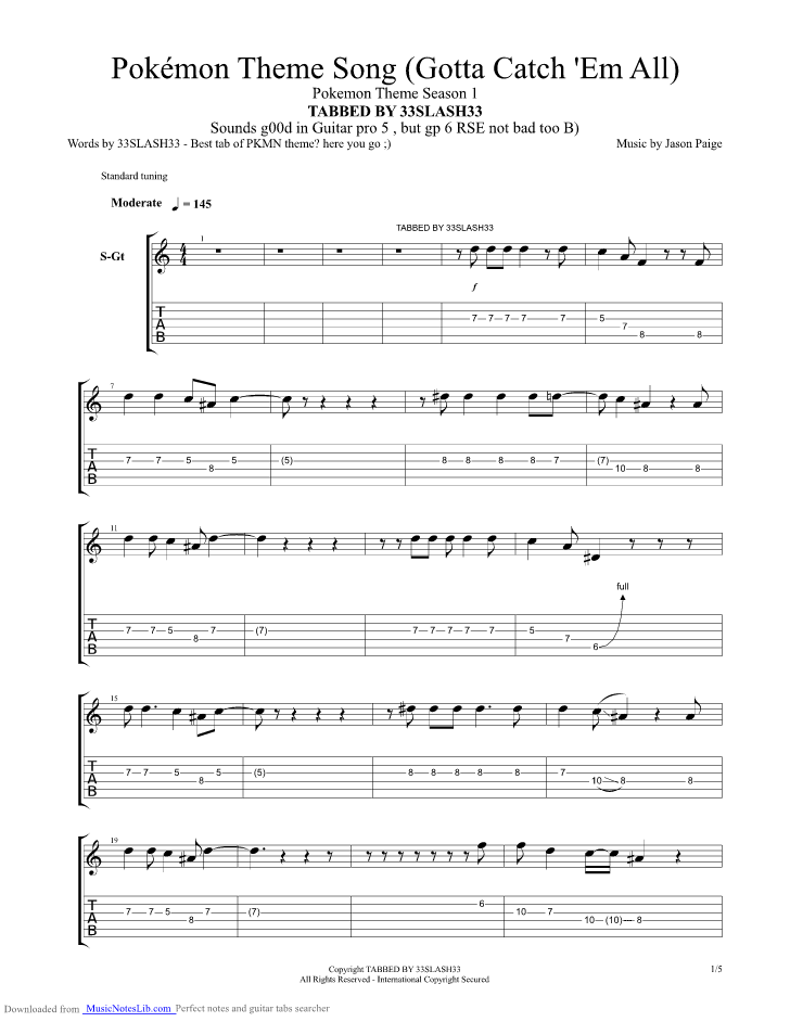 Pokemon Theme guitar pro tab by Misc Cartoons @ musicnoteslib.com