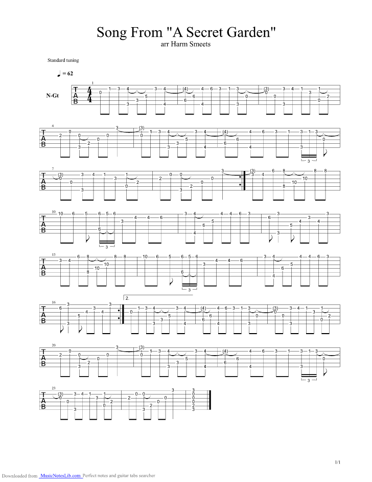 Song From A Secret Garden Guitar Pro Tab By Secret Garden