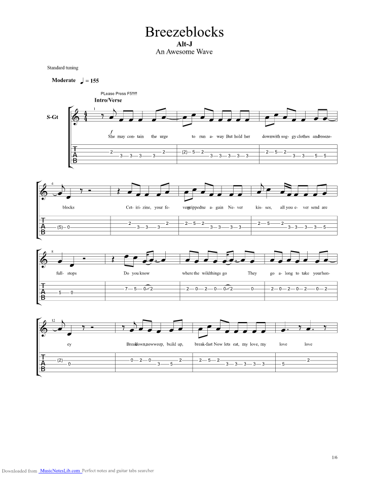 Breezeblocks Guitar Pro Tab By Alt J Musicnoteslib