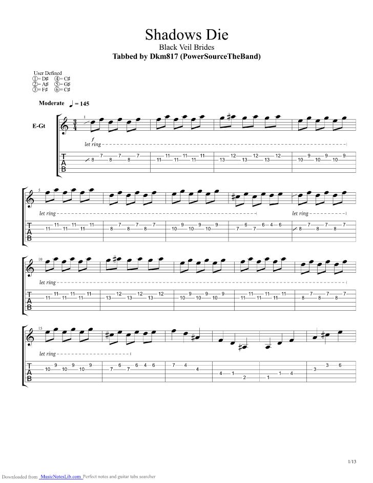 Shadows Die Guitar Pro Tab By Black Veil Brides Musicnoteslib