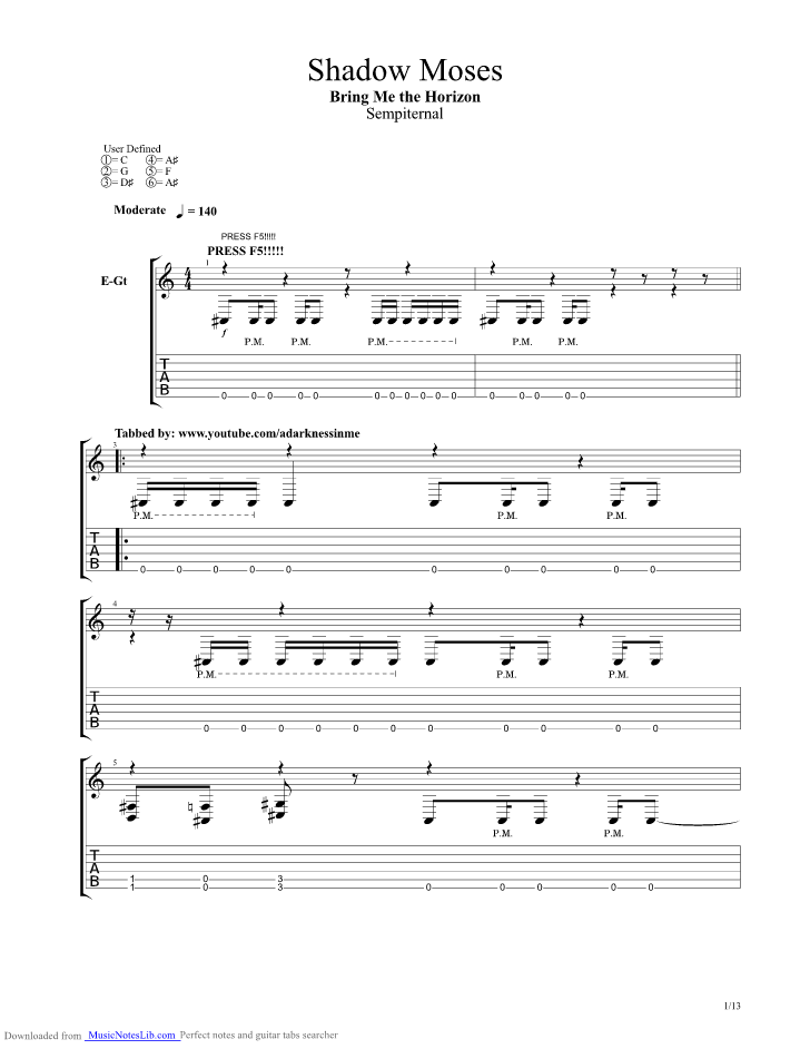 Shadow Moses guitar pro tab by Bring Me The Horizon @ musicnoteslib.com