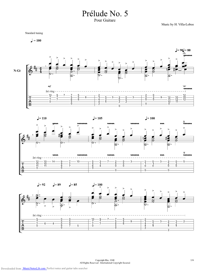 Prelude no guitar pro tab by villa lobos heitor for Pool 5 in 1 tabs