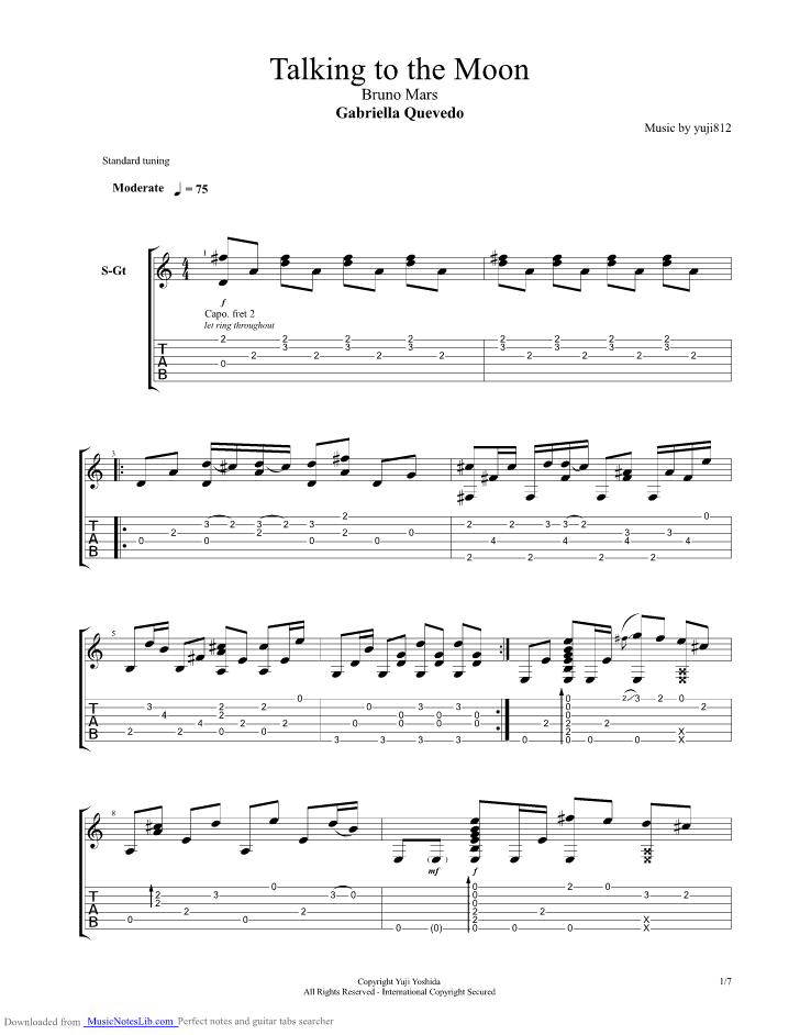 Gabriella Quevedo - Talking To The Moon guitar pro tab by Misc ...