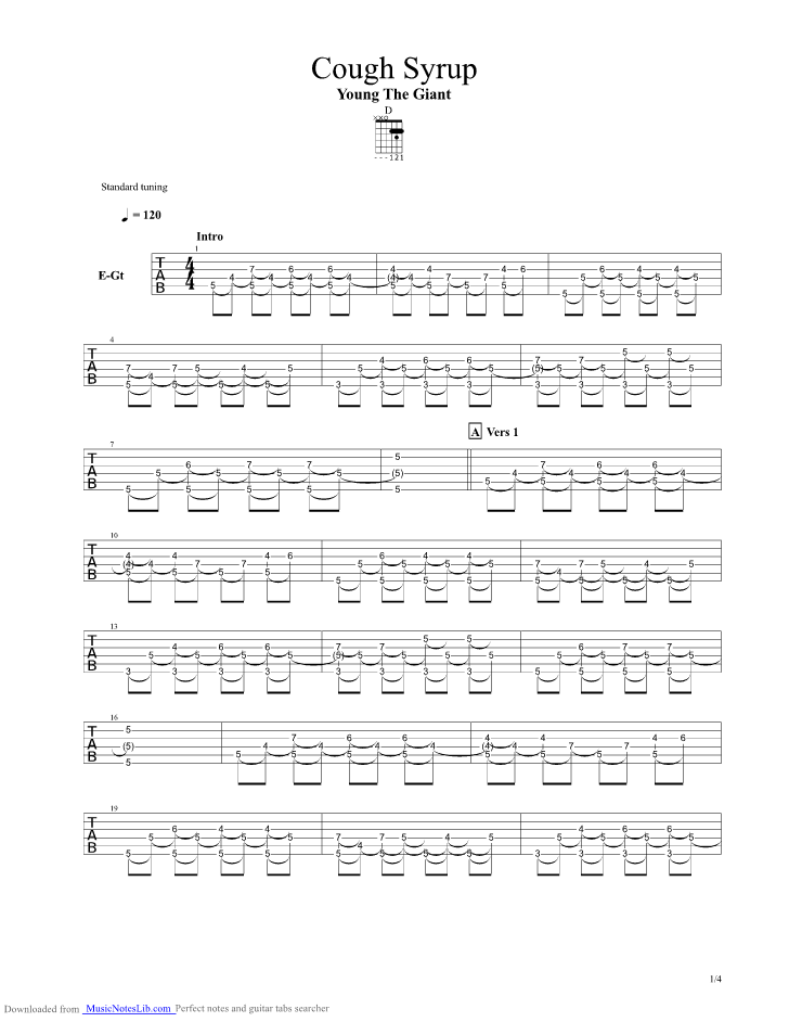 Cough Syrup guitar pro tab by Young The Giant @ musicnoteslib.com