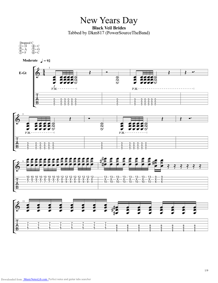 New Years Day Guitar Pro Tab By Black Veil Brides Musicnoteslib