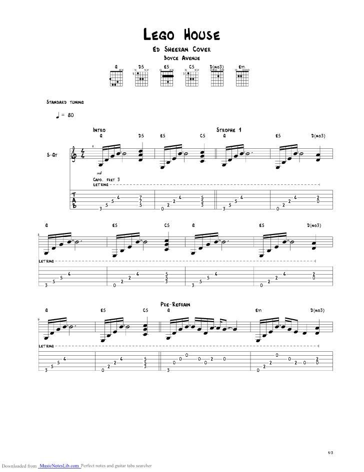 Lego House Guitar Pro Tab By Boyce Avenue Musicnoteslib